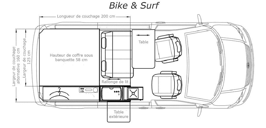 Bike surf eco campers - Plan amenagement transporter t4 ...
