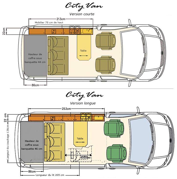 Cityvan eco campers - Plan amenagement transporter t4 ...